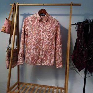 Tommy Hilfiger Pink Paisley Floral Cotton Shirt XS
